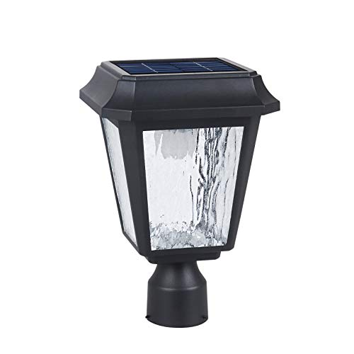 Solar Post Light Solar Powered Lamp Post Light Solar Post Cap Light Solar Patio Light Fabulously Bright 150 LUMENS Made of Aluminum die-Casting and Glass ST4618Q-A with 3 inches Post Adaptor (Post Outdoor Solar Light)