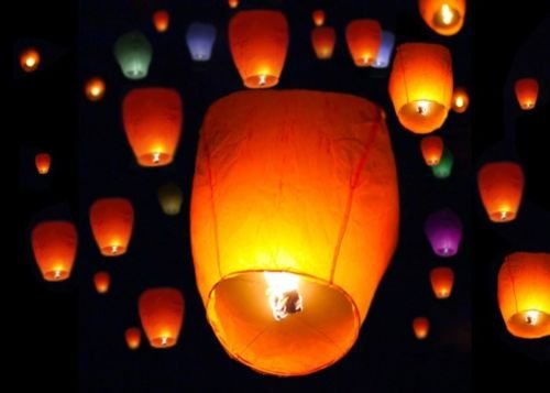 100 Multi Color Paper Chinese Sky Fire Lanterns Wishing Flying Candle Lamp