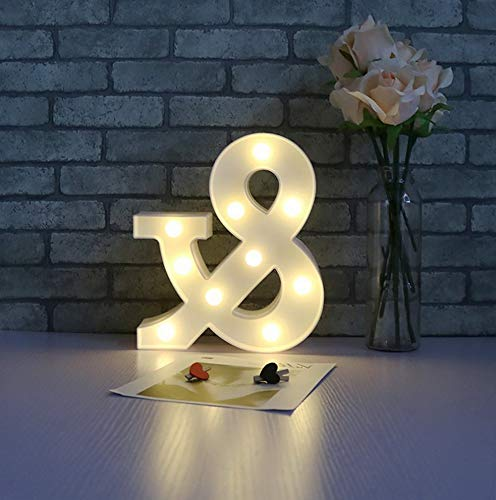 Mikash Ampersand Symbol LED Marquee Letter Lights for Christams Alphabet Light Up Marquee Letters Sign for Wedding Birthday Party Battery | Model WDDNG - 479