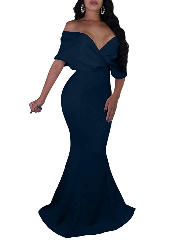 Navy GOBLES Women Sexy V Neck Off The Shoulder Evening Gown Fishtail Maxi Dress