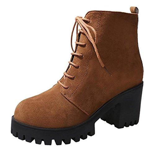 Inkach Womens Ankle Boots Side Zipper | High Heels Lace-up Snow Boot | Casual Round Toe Martin Shoes Brown