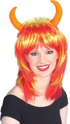 Rubie's Costume Bi-Color Devil Wig with Horns, Red/Orange, One Size (Succubus Halloween Costume)