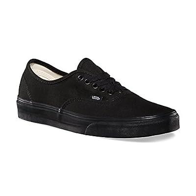 Vans Unisex Authentic Solid Canvas Skateboard Sneakers (35 M EU / 4 D(M) US, Black / Black)