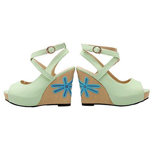 AIYOUMEI Damen Peep Toe Slingback Keilabsatz Sandalen mit Knöchelriemchen und Blumenmuster High Heels Keilsandalen Grün