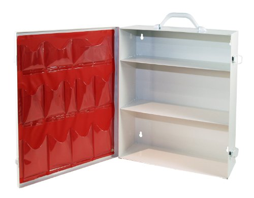 Medique Products First Aid Cabinet with Pockets, Medical Storage with 3 Shelves - - Shelf Aid 5 First