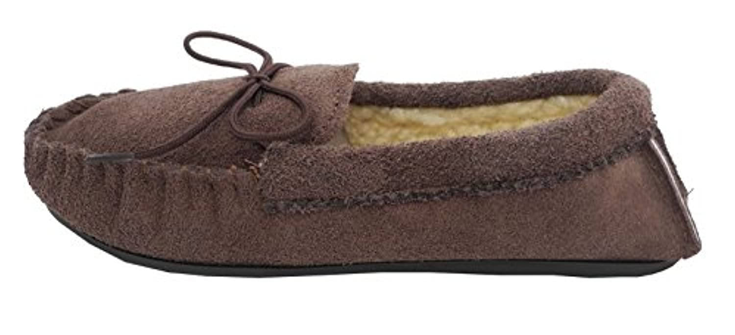 Older Boys Mokkers Real Suede Leather Moccasin Slippers BROWN SIZE 4