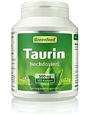 Greenfood Taurin, 500mg, extra hochdosiert, 120 Kapseln