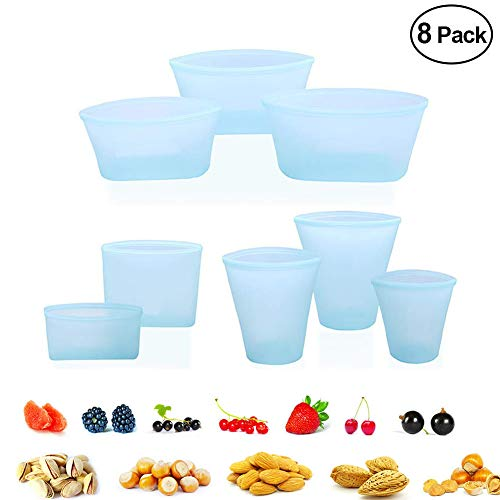 Reusable Silicone Food Bag Zip Lock Leakproof Containers Stand Up Stay Open Zip Shut Storage Bag Snack Fruit Bag Cup Pattern (8Pcs Set(Blue)) (Container Pattern)