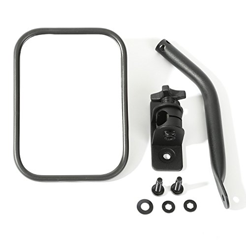 - Rugged Ridge 11025.18 Textured Black Rectangular Quick Release Mirror Kit for 1997-2018 Jeep Wrangler