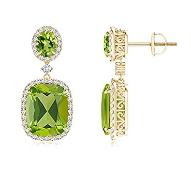 73d4fa865eb764 Two Tier Claw-Set Peridot Dangle Earrings with Diamond Halo in 14K Yellow  Gold (