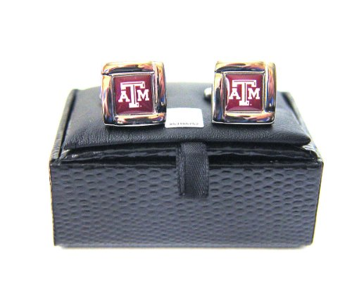 Ncaa Texas A&M Aggies Square Cufflinks with Square Shape Engraved Logo Design Gift Box Set