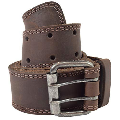 - Hide & Drink, Two Row Stitch Leather Belt/Rustic Double Prong Buckle, 1.5
