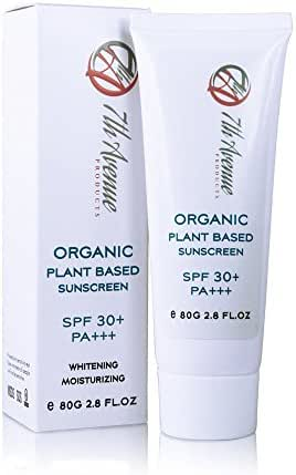 Natural Organic Mineral Zinc Oxide Sunscreen Plant Based Formula SPF 30+ Cream Lotion Vegan Non-Toxic Kids Safe Sunblock Skin Moisturizing Whitening Water resistant Biodegradable Reef Safe