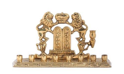 Rampant Lions of Judah Brass Hanukah Menorah - Standard