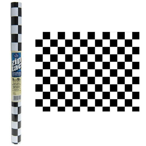 Zip Tac Black & White Checkers Contact paper--9