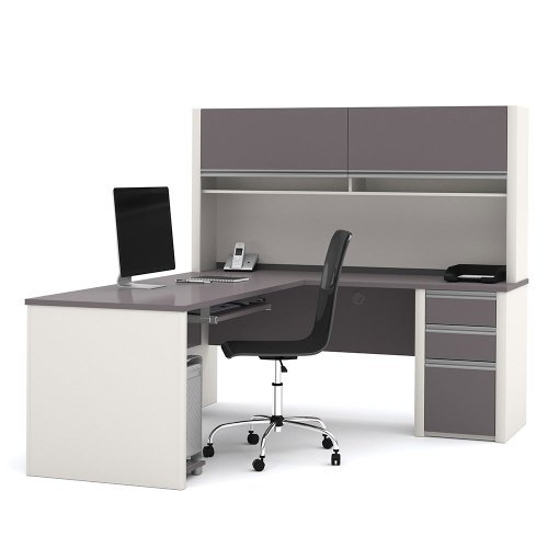 Connexion Reversible LDesk with Hutch Bordeaux/Slate by Bestar