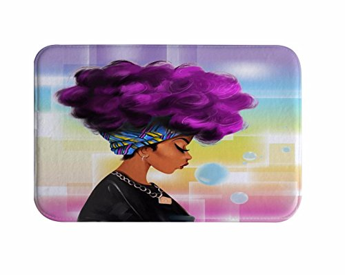 A.Monamour Traditional African Black Women with Purple Hair Afro Hairstyle Watercolor Portrait Picture Print Flannel Microfiber Anti-Slip Bath Mat Rug for Bathroom Bedroom Floormats 40x60cm / 16x24