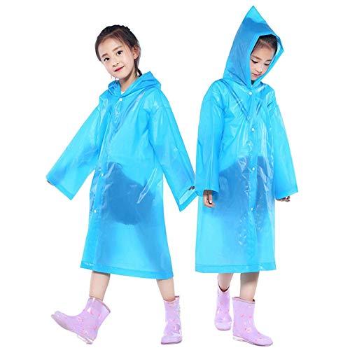 - PERTTY 2 Pcs Kids Rain Ponchos Reusable Raincoats Portable Rain Wear with Hat Hood Unisex for 6-12 Years Old Children (Blue)