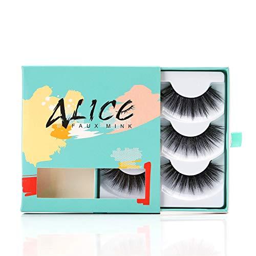 ALICE Faux Mink Lashes 3D False Eyelashes Glamour 3 Pairs