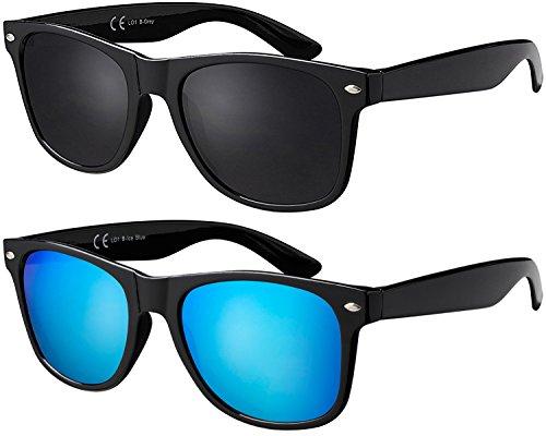 La Optica B.L.M. UV400 CAT 3 CE Unisex Sonnenbrille - Farben, Einzel-/Doppelpacks, Verspiegelt