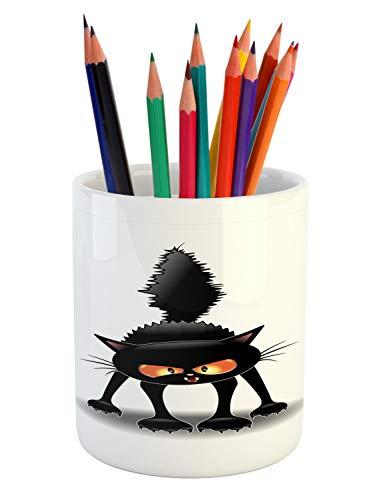 Lunarable Halloween Cat Pencil Pen Holder, Grumpy Kitten