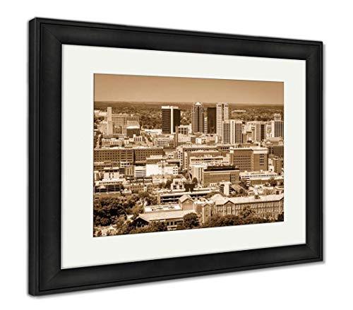 (Ashley Framed Prints Birmingham, Alabama, USA Downtown Skyline from Above at Dusk, Wall Art Home Decoration, Sepia, 34x40 (Frame Size), Black Frame, AG32675561)