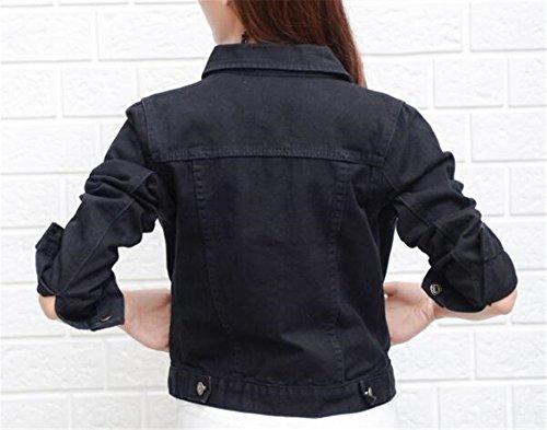Veste Hooded Dcontracte Manteau Court Outerwear Casual Denim Tops Automne Femme Blousons Coat Black AILIENT Bouton qtS4W