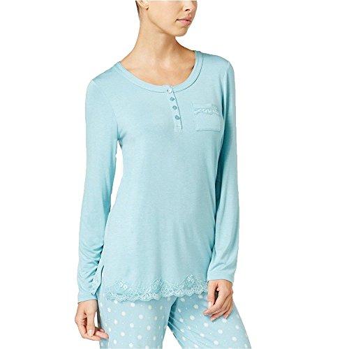 Alfani Womens Pull Over Lace Trim Pajama Top Blue L