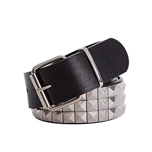 (Shiny Pyramid Rivet Belt Men&Women's Studded Belt Punk Ro With Pin Bule,Sliver belt,115cm)
