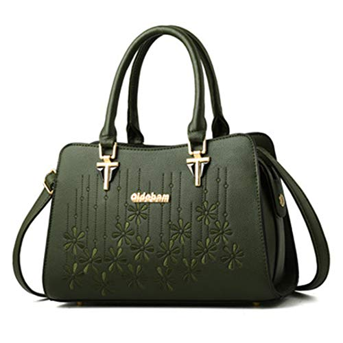 Green Sacs capacité élégants d'épaule main Sacs pour de à sacs à broderie cuir à des de dames grande de main de femmes en bandoulière wqAgZrnw8