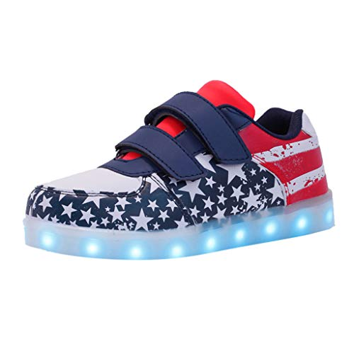 (Shusuen Toddler Boys Girls American Flag Slip On Loafers Flat Shoes Patriotic 614 Lightweight Lunimous Sneakers Blue)