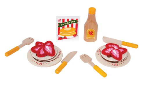 (Hape Pancake Breakfast with Strawberries and Syrup Wooden Play Kitchen Food Set and Accessories)