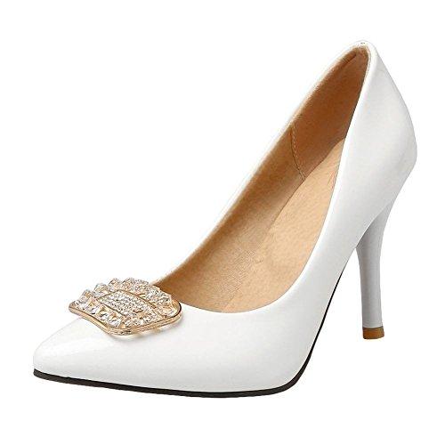 MissSaSa Damen high heel Pointed Toe Lackleder Pumps mit Strass Weiß