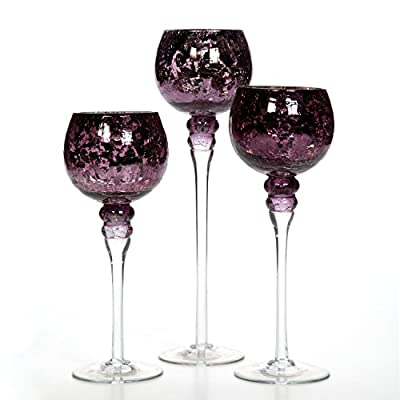 Hosley Set of 3 Crackle Purple Glass Tealight Holders