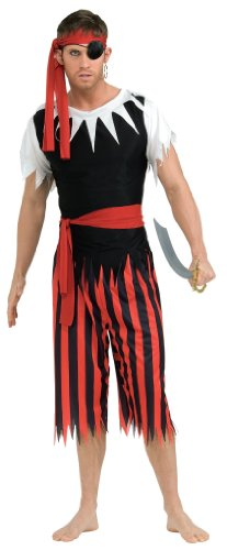 Rubie's Costume Pirate Complete Adult Value Costume, Black/Red, One Size - Halloween Costumes Red Pants