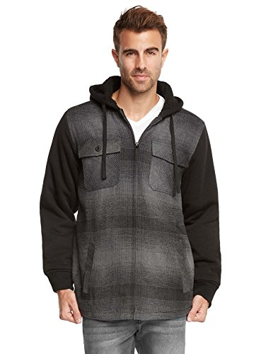 Plaid Hooded Coat (9 Crowns Essentials Sherpa Lined Plaid Flannel Hoodie Jacket-Black/Charcoal-XL)