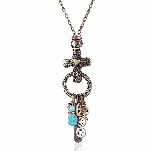 Vintage Jewelry Cross with Peace Sign Pendant Men Women Necklaces Long Chain Neckkace Colar (Sign Cross Necklace)