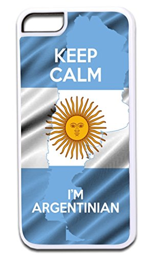 Keep Calm I'm Argentinian TM Apple Iphone 4, 4s White Plastic Case with Soft Black Rubber Lining Made in the U.S.A.