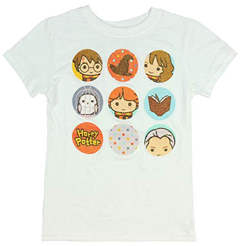 (Harry Potter Fantasy Glittery Character Icons Girls T-Shirt (X-Large) White)