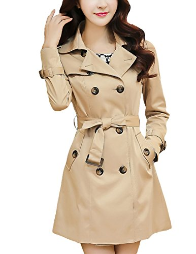 MFrannie Women Vintage Slimming With Belt Double Breast Trench Coat Khaki S