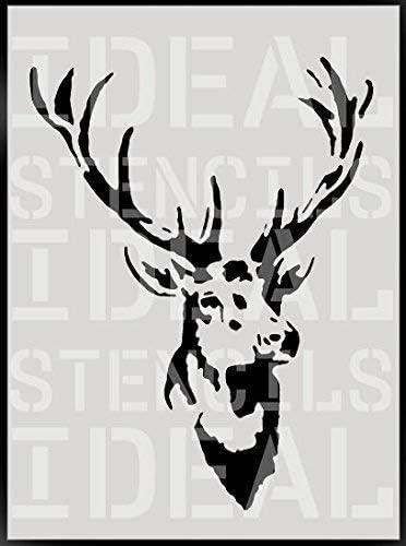 11X14CM Vintage t/ête de cerfs pochoir d/écoration murale dint/érieur art Artisanat Peinture pochoir XSMALL