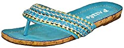 Pazzle Moon-01 Blue Women Flat Sandals, 7.5 M US