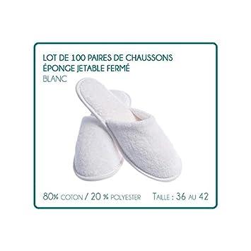 LOT de 100 paires de Chaussons fermés pantoufle éponge jetables Blancs pour Thalasso - hôtel - spa  - piscine ....