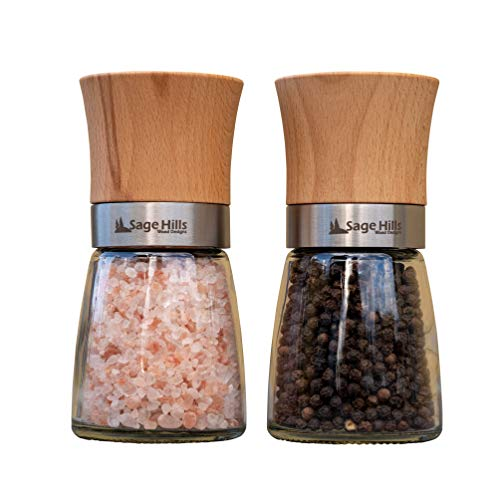 Wood Salt and Pepper Grinder Set - Beech Wood with Adjustable Coarseness