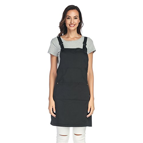Unisi Unisex-adult Work Apron With Multi Pockets Cross Back Straps And Adjustable M to XXXL(Black)