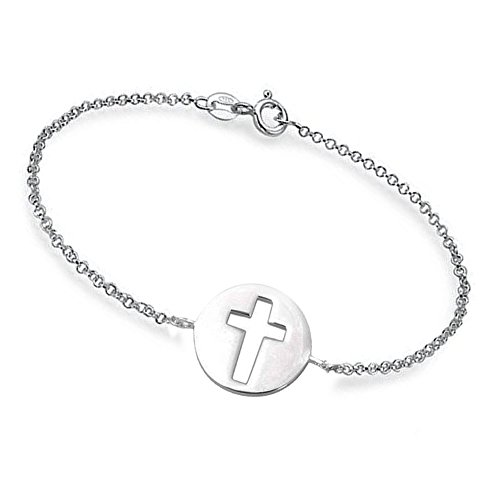 (Ouslier 925 Sterling Silver Cut Out Round Cross Bracelet with Rollo Chain (Silver))