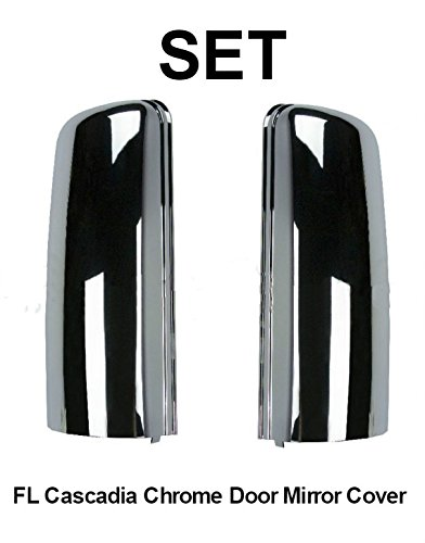 Freightliner Cascadia Door Mirror Cover Set | 2 pcs | Driver and Passenger Side | Chrome | 2008-2013 Models | Direct OEM replacement for TL28713 & TL28712 | Areion