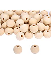 VABNEER Wooden Bead, 100Pcs Natural Beads Round Wood Beads for Crafts DIY Handmade Decorations Craft Making (20mm)