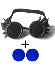 CAREONLINE Fashion Lens Goggles Steampunk Welding Goth Cosplay (Black) - Vintage Steampunk Goggles Glasses Eyewear