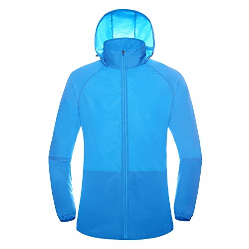 Maoko Sports Outdoor Running Windbreaker Jacket With Hood  Lightweight Sun Uv Protection Sky Blue
